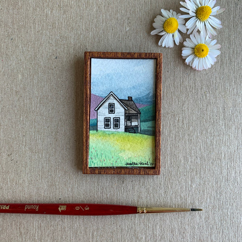 Old Farmhouse, Miniature Painting - Small Original Watercolor Art