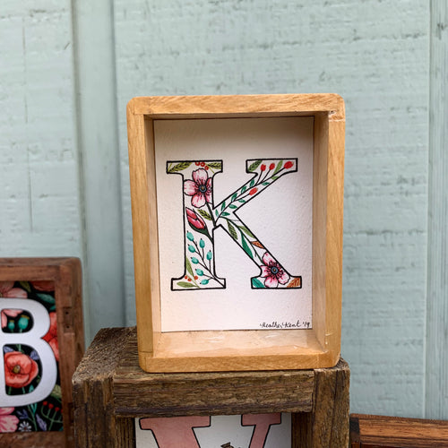K - Floral Monogram Letter K with Pink Blossoms, Original Watercolor Box Painting
