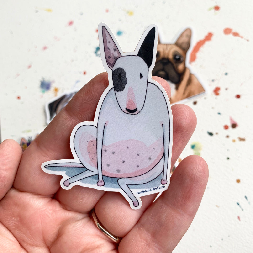 Bull Terrier Dog Vinyl Stickers, 3 inch, Doggos Sticker, FREE SHIPPING