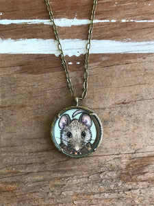 Mouse Original Hand Painted Necklace, Little Brown Mouse Illustration