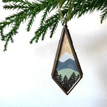 Load image into Gallery viewer, Mountains Landscape Hand Painted Ornament, Original Watercolor Painting, Holiday Christmas Tree Ornament 2020