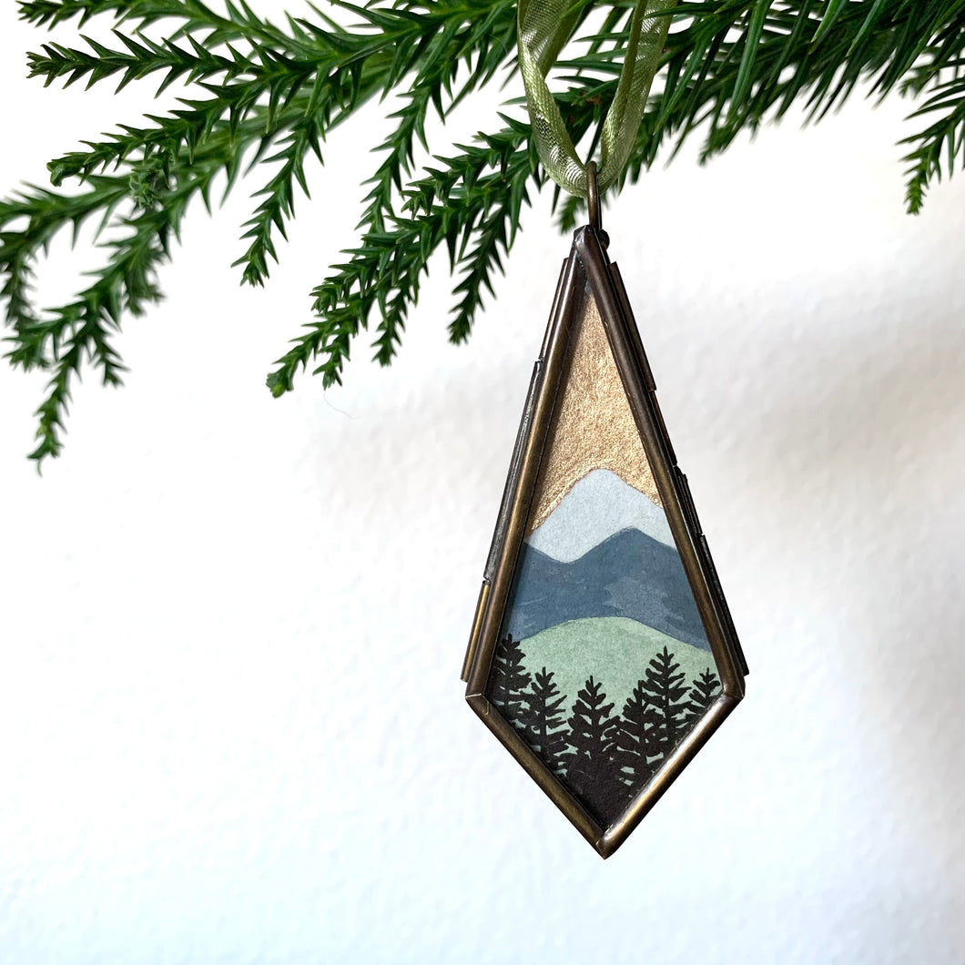 Mountains Landscape Hand Painted Ornament, Original Watercolor Painting, Holiday Christmas Tree Ornament 2020