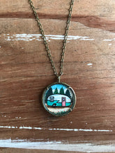 Load image into Gallery viewer, Vintage Camper Trailer Art Illustration, Original Hand Painted Necklace