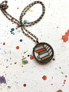 Stack of Old Books, Watercolor Hand Painted Necklace, Original Art Pendant, Gifts for Teachers or Students or Book Lovers