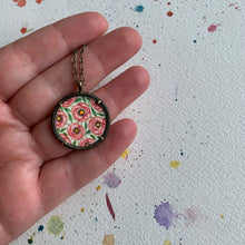 Load image into Gallery viewer, Rose Garden Hand Painted Necklace, Original Watercolor Painting, Pink Peach Roses