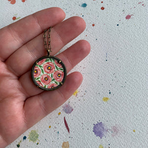 Rose Garden Hand Painted Necklace, Original Watercolor Painting, Pink Peach Roses