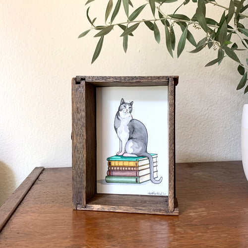Cat on Stack of Books -  Box Painting, Original Watercolor Painting,
