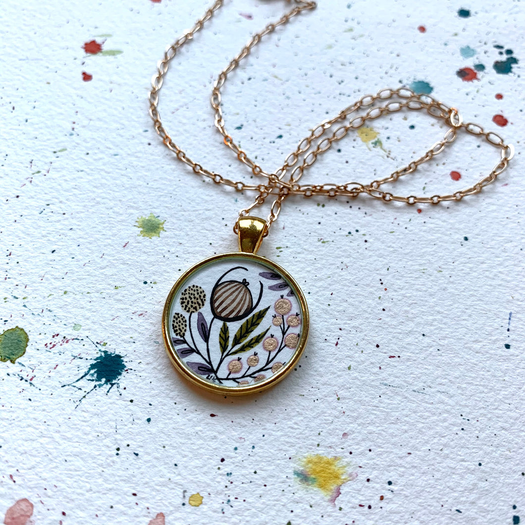 Hand Painted Necklace Inspired by Vintage Floral Wildflower Garden, Original Watercolor Painting