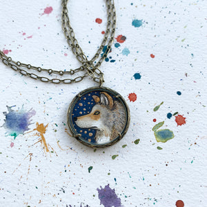 Wolf Painting, Watercolor Hand Painted Necklace with Gold Leaf, Original Art Pendant