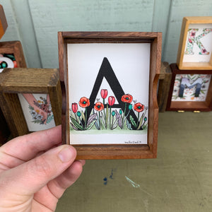 SALE A - Floral Monogram Letter A with red poppies and tulips, Original Watercolor Box Painting