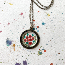 Load image into Gallery viewer, Red Poppy Flowers, Hand Painted Necklace, Inspired by Vintage Floral Fabric, Original Watercolor Painting