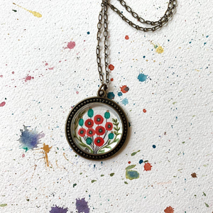 Red Poppy Flowers, Hand Painted Necklace, Inspired by Vintage Floral Fabric, Original Watercolor Painting