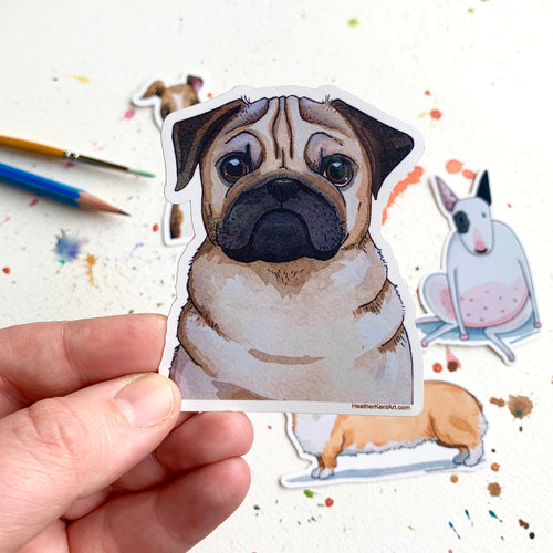 Pug Dog Vinyl Stickers, 3 inch, Doggos Sticker, FREE SHIPPING