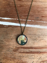 Load image into Gallery viewer, 18. Abstract Painting, Watercolor Hand Painted Necklace, Original Abstract Art Pendant, One of a Kind, Olive Green Rust  Gold