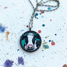 Load image into Gallery viewer, Cow Painting, Original Watercolor Art Pendant, Hand Painted Necklace