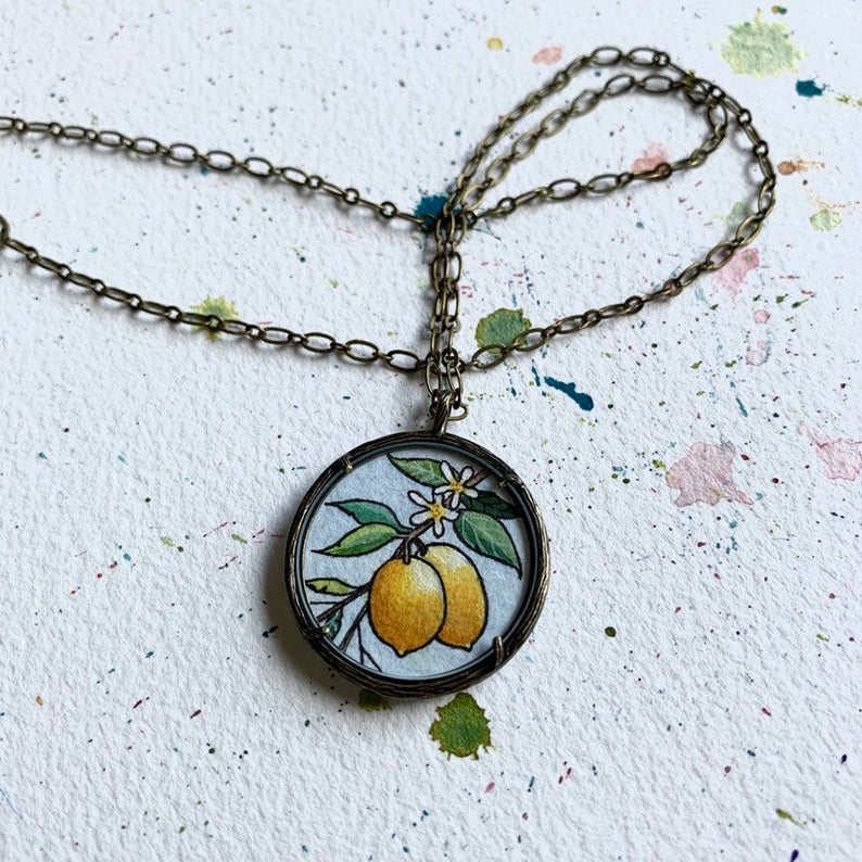 Lemons on a Branch Necklace, Original Watercolor Hand Painted Necklace, Culinary Gift, Chef Gift