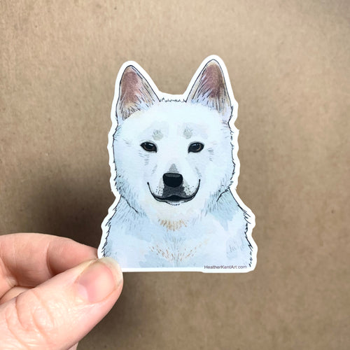 Jindo Dog Vinyl Stickers, 3 inch, Doggos Sticker, White Korean Jindo Dog Art