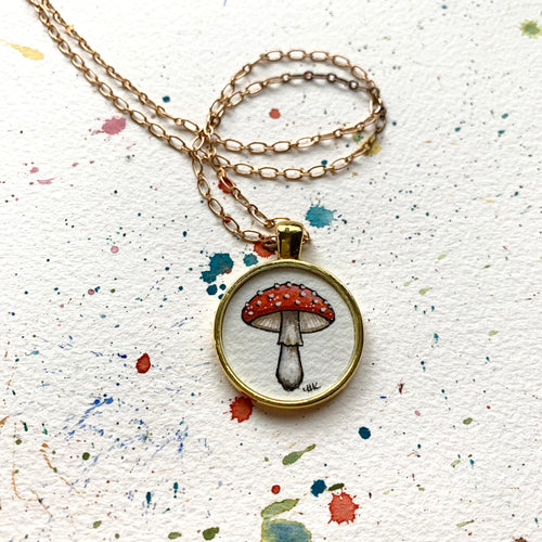 Toadstool Mushroom Pendant, Original Watercolor Hand Painted Necklace