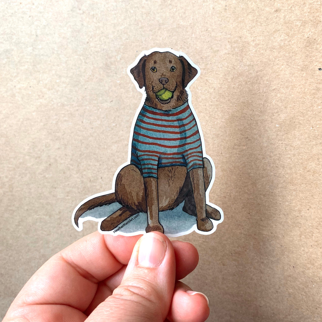 Chocolate Lab Dog Vinyl Stickers, 3 inch, Doggos Sticker, FREE SHIPPING