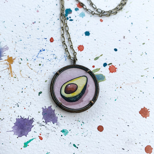 Avocado Love Original Watercolor Hand Painted Necklace