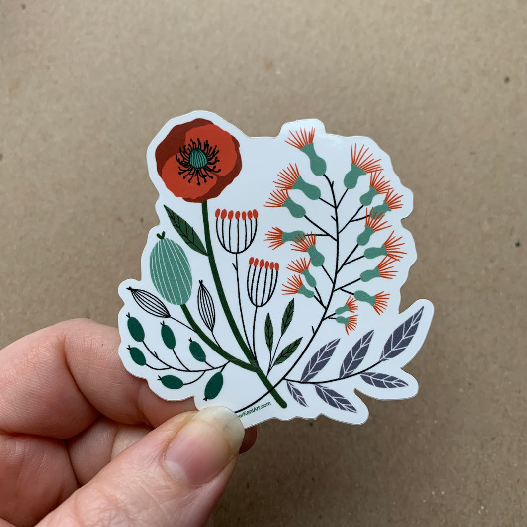 Vintage Florals, Red Poppy, Vinyl Sticker, 3 inch, FREE SHIPPING