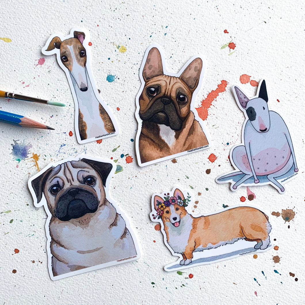 Set of 5 Dogs Vinyl Stickers, 3 inch, Five Doggos FREE SHIPPING