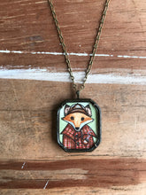 Load image into Gallery viewer, Sherlock Fox Hand Painted Necklace, Mr Fox Illustration