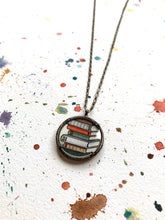 Load image into Gallery viewer, Stack of Old Books, Watercolor Hand Painted Necklace, Original Art Pendant, Gifts for Teachers or Students or Book Lovers