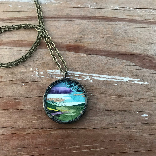 19. Abstract Landscape Painting, Watercolor Hand Painted Necklace, Original Abstract Landscape Art Pendant, One of a Kind, Olive Green Gold Landscape