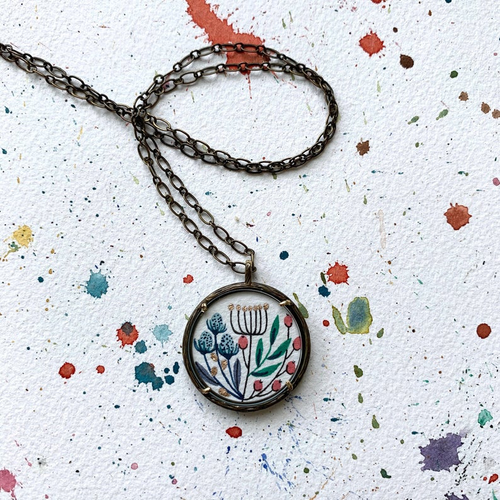 Hand Painted Necklace Inspired by Vintage Floral Wildflower Bouquet, Original Watercolor Painting