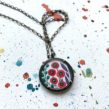 Load image into Gallery viewer, Poppy Pendant, Hand Painted Necklace, Inspired by Vintage Floral Fabric, Original Watercolor Painting, Red Poppies Print