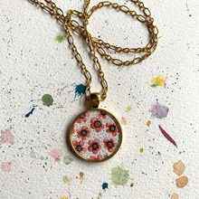 Load image into Gallery viewer, Gold and Pink Flowers, Hand Painted Necklace, Inspired by Vintage Floral Fabric, Original Watercolor Painting in a Gold Pendant