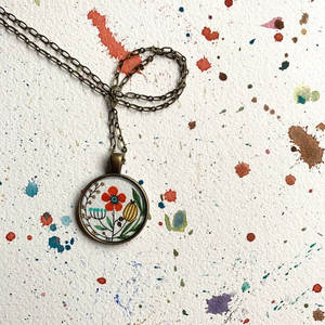 Red Vintage Flowers, Hand Painted Necklace, Inspired by Vintage Floral Fabric, Original Watercolor Painting