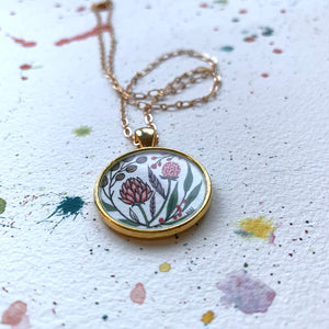 Vintage Florals - Hand Painted Necklace, Peach Wildflower Garden, Original Watercolor Painting