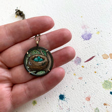 Load image into Gallery viewer, Bird Nest Necklace, Watercolor Hand Painted Necklace, Original Art Pendant