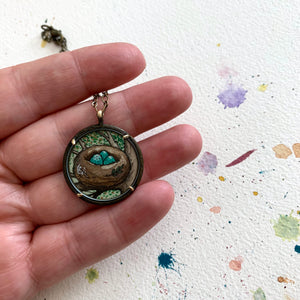 Bird Nest Necklace, Watercolor Hand Painted Necklace, Original Art Pendant