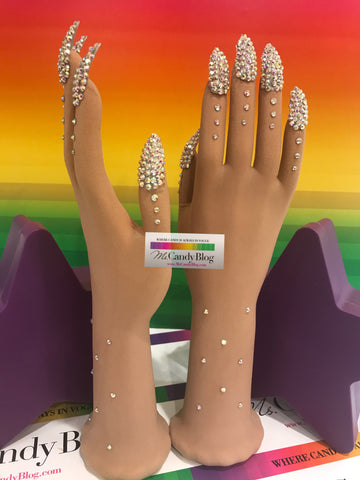 Rhinestone Nails (AB) on Sheer Illusion Nail Gloves by Ms Candy Blog