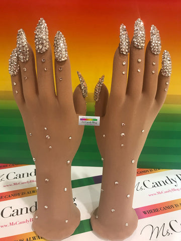 Rhinestone Covered Nails on Sheer Illusion Nail Gloves by Ms. Candy Blog