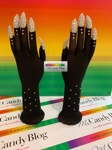 Rhinestone Nails (AB) on Black Illusion Nail Gloves by Ms Candy Blog