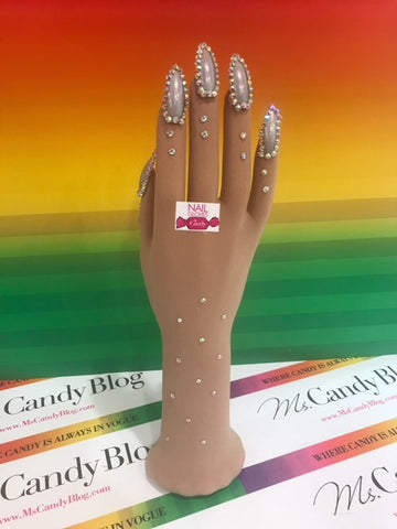 Holographic Nails with Aurora Rhinestones on Nude Illusion Glove by Nail Gloves by Candy