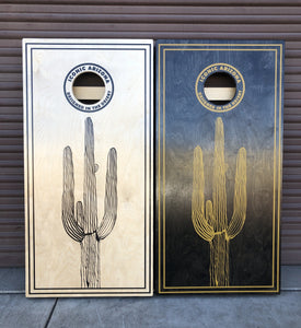 Iconic Arizona Lone Saguaro Cornhole Boards - Iconic Arizona