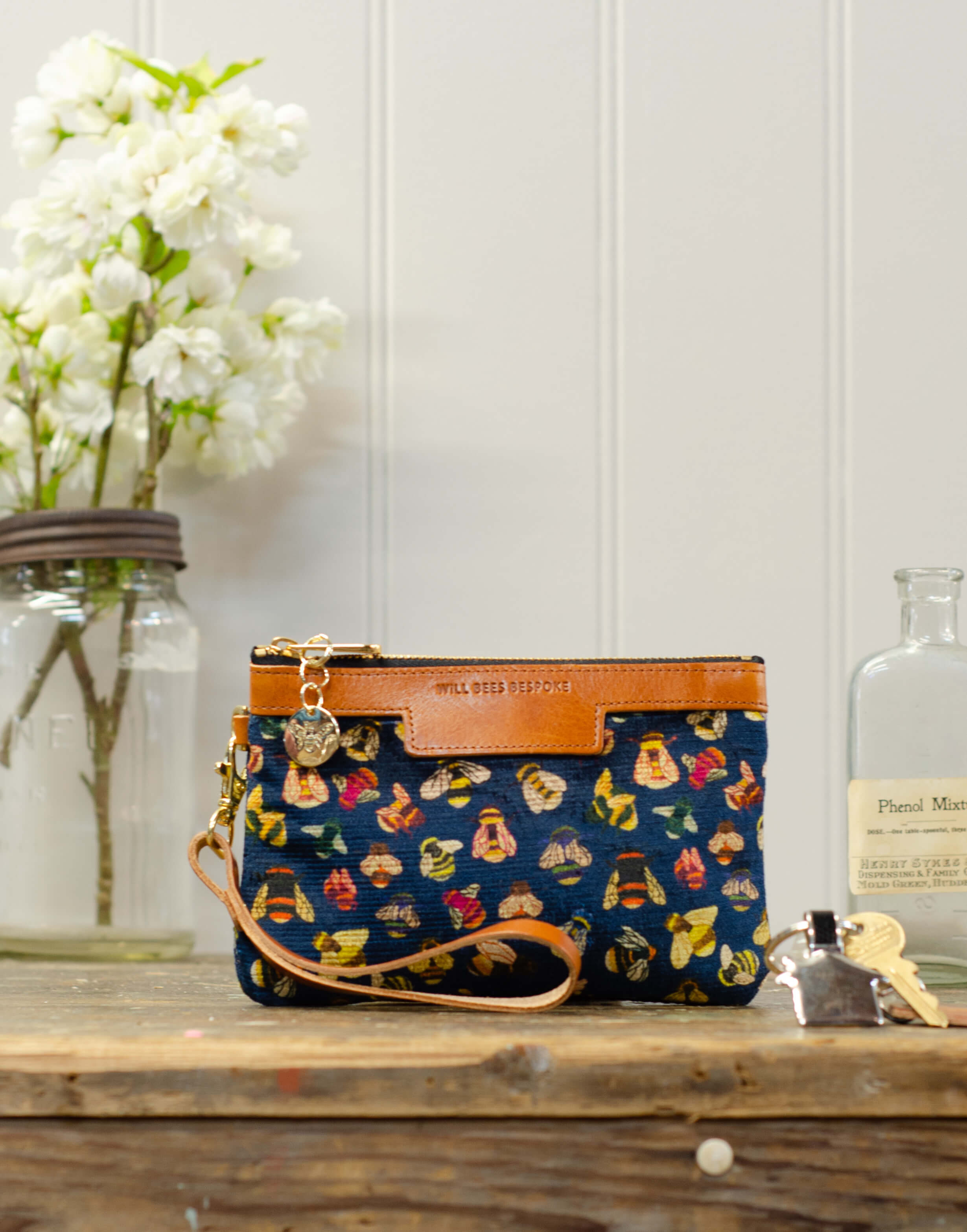 Premium Diana Mini Clutch - Bee party in Midnight sky - Will Bees Bespoke