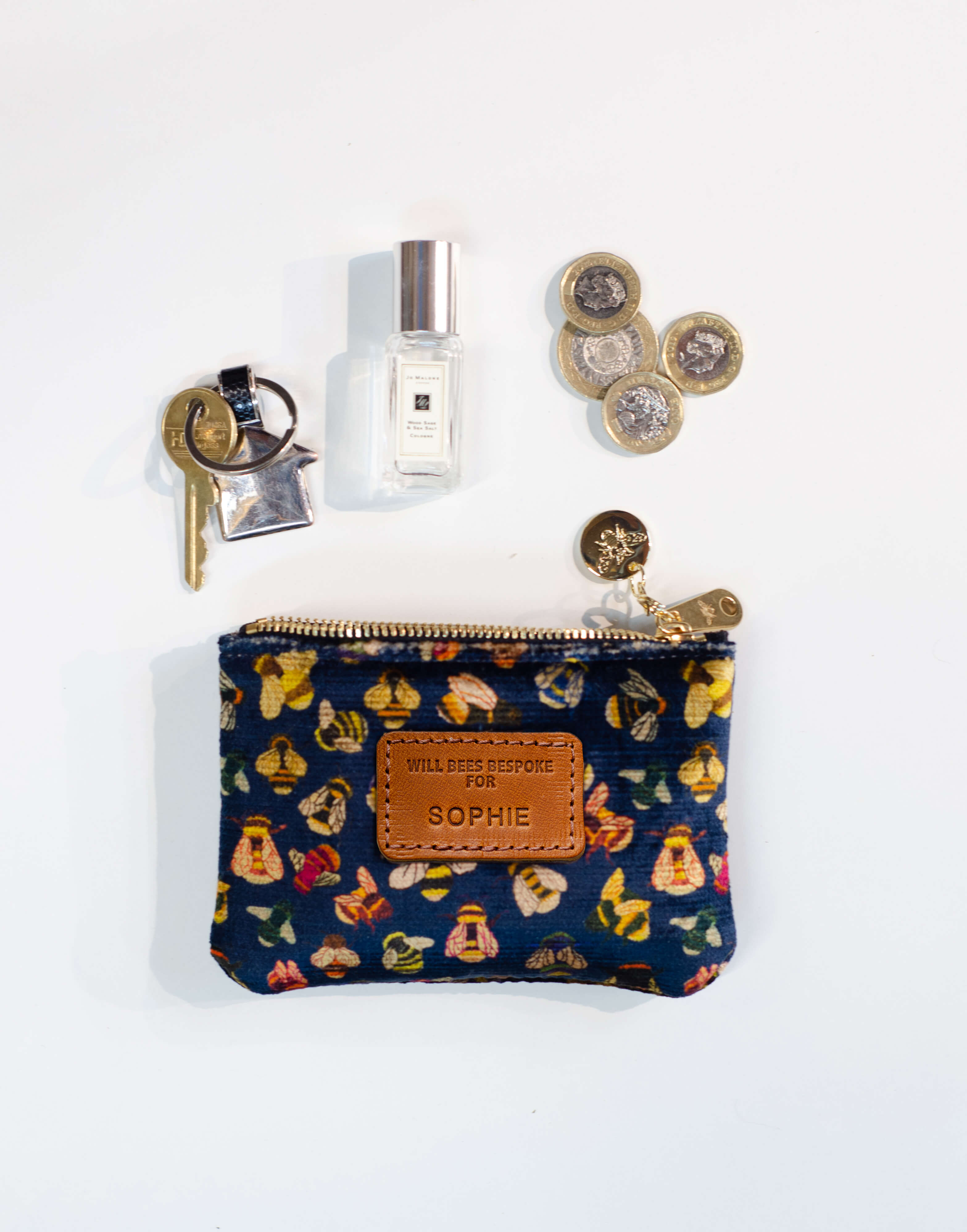 Jane Coin Purse - Bee party in Midnight sky - Will Bees Bespoke