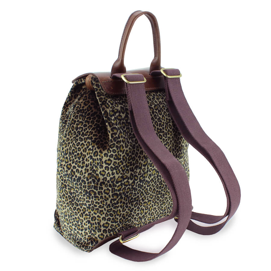 Gertie Backpack - Dark Leopard Velvet - Will Bees Bespoke