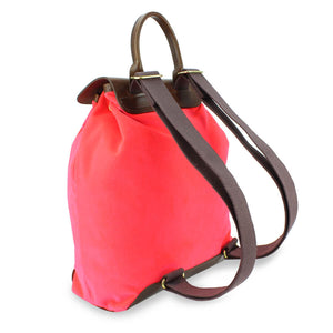 Gertie Backpack - Neon Coral Velvet