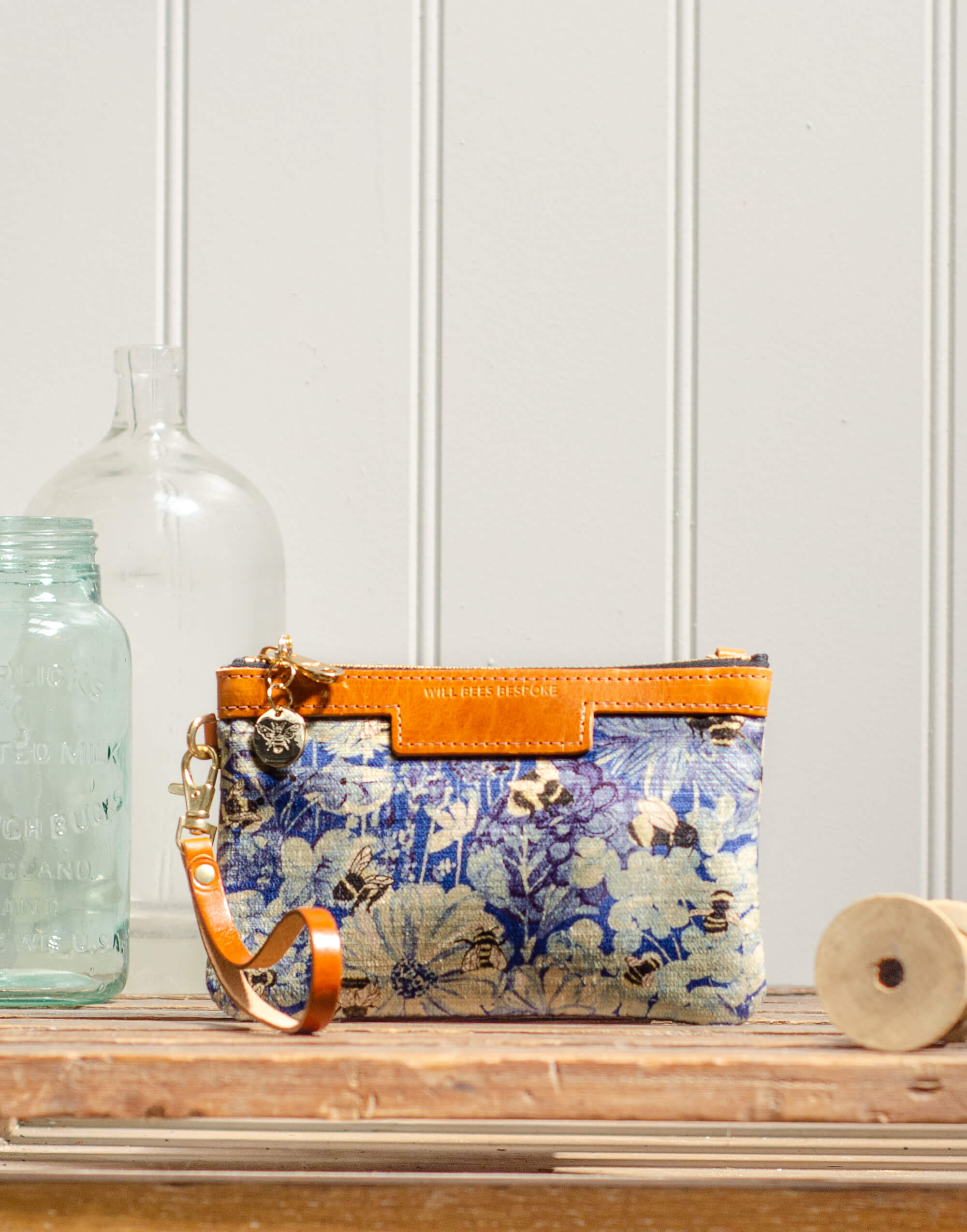 Premium Diana Mini Clutch - Bumblebee Haven in Blue Sea - Will Bees Bespoke