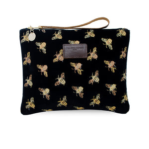 Charlotte Oversized Clutch - Limited Edition Bees on Black Velvet