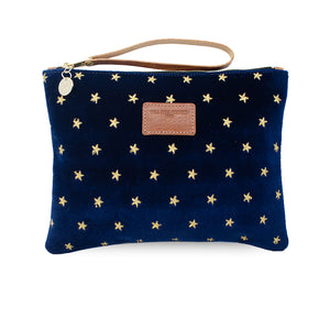 Charlotte Oversized Clutch - Limited Edition Gold Stars on Navy Velvet