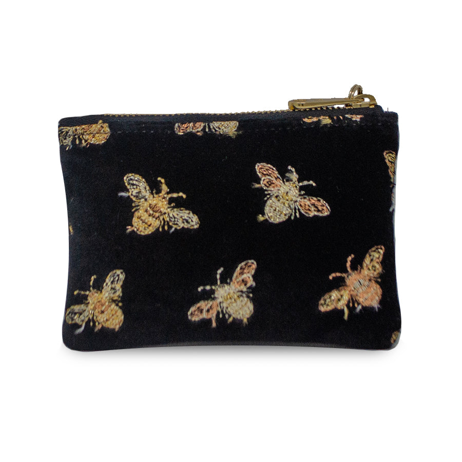 Jane Coin Purse - Signature Bees on Black Velvet