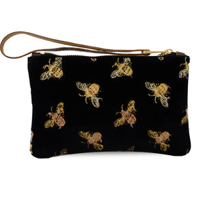 Ada Mini Clutch - Signature Bees on Black Velvet